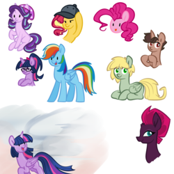 Size: 1000x1000 | Tagged: safe, artist:chautung, pinkie pie, sci-twi, starlight glimmer, sunset shimmer, tempest shadow, twilight sparkle, oc, oc:hyde, oc:jekyll, alicorn, pony, beanie, cap, equestria girls ponified, hat, ponified, twilight sparkle (alicorn)
