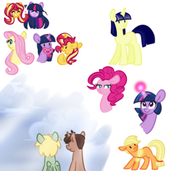 Size: 1000x1000 | Tagged: safe, artist:chautung, applejack, fluttershy, pinkie pie, sunset shimmer, twilight sparkle, oc, oc:hyde, oc:jekyll, female, lesbian, shipping, sunsetsparkle
