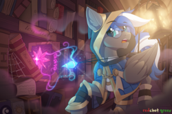 Size: 2075x1380 | Tagged: safe, artist:redchetgreen, oc, oc only, oc:cloud zapper, pegasus, pony, clothes, commission, crystal, glasses, hoodie, magic, male, solo, stallion, ych result