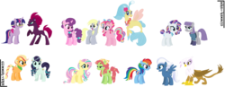 Size: 3248x1256 | Tagged: safe, artist:glimmer-verse, applejack, coloratura, derpy hooves, fluttershy, gilda, maud pie, night glider, pinkie pie, princess skystar, rainbow dash, rarity, sugar belle, tempest shadow, tree hugger, twilight sparkle, alicorn, derpybelle, female, flutterhugger, gildash, interspecies, lesbian, rarajack, rarimaud, shipping, simple background, skypie, tempestlight, transparent background, twilight sparkle (alicorn)