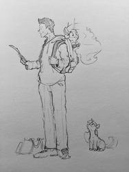 Size: 960x1280   Tagged: safe, artist:greyscaleart, princess celestia, twilight sparkle, oc, oc:human grey, alicorn, human, unicorn, bronycon, bronycon 2018, bag, black and white, carrying, cute, cutelestia, female, filly, filly twilight sparkle, grayscale, human male, male, monochrome, sillestia, silly, simple background, sketch, traditional art, unicorn twilight, younger