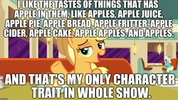 Size: 1280x720   Tagged: safe, edit, edited screencap, editor:useraccount, screencap, applejack, honey curls, mare e. lynn, earth pony, pony, the saddle row review, apple, apple bread (food), apple cider, apple fritter (food), apple juice, apple pie, blatant lies, cowboy hat, female, food, freckles, hat, image macro, jackabuse, juice, mare, meme, op is a duck, op is trying to start shit, pie, solo focus, that pony sure does love apples