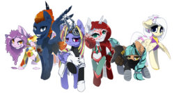 Size: 5807x3124 | Tagged: alicorn, alicorn oc, artist:arctic-fox, bad guys, clothes, goggles, group, looking at you, oc, oc only, pegasus, pony, raised hoof, safe, simple background, teeth, transparent background, unicorn