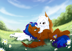 Size: 1414x1000 | Tagged: safe, artist:arctic-fox, oc, oc only, oc:ashley fox, oc:nimble wing, earth pony, pegasus, pony, ear fluff, eye contact, flower, grass field, hoof on head, hug, lidded eyes, looking at each other, lying down, necklace, oc x oc, on back, pendant, shipping, spread wings, winghug, wings