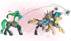 Size: 2500x1460 | Tagged: safe, artist:sourcherry, oc, oc only, unnamed oc, earth pony, pony, unicorn, fallout equestria, armor, female, grenade, heart eyes, magic, male, mare, spell, stallion, telekinesis, this will end in death, want it need it, wasteland ventures, wingding eyes