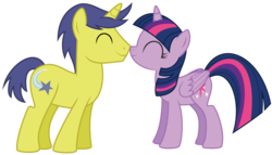 Size: 7000x4000 | Tagged: safe, artist:3d4d, artist:midnightblitzz, edit, comet tail, twilight sparkle, alicorn, pony, unicorn, background pony, cometlight, duo, female, male, mare, shipping, simple background, stallion, straight, transparent background, twilight sparkle (alicorn), vector