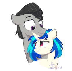 Size: 764x753 | Tagged: safe, artist:yaaaco, dj pon-3, octavia melody, vinyl scratch, female, half r63 shipping, male, mare, octavius, rule 63, scratchtavia, scratchtavius, shipping, simple background, smiling, stallion, straight, white background
