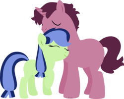 Size: 5448x4369 | Tagged: safe, artist:babyroxasman, oc, oc only, oc:bitter punch, oc:blueberry zinger, earth pony, pony, unicorn, absurd resolution, brother and sister, duo, female, lineless, male, not incest, nuzzling, offspring, ship:bitterberries, siblings, simple background, transparent background, vector
