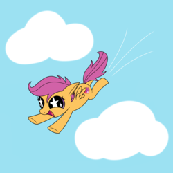 Size: 2500x2500 | Tagged: artist:silver dash, atg 2018, cloud, cute, flying, happy, newbie artist training grounds, pegasus, pony, safe, scootaloo, scootaloo can fly, simple background, sky, starry eyes, wingding eyes
