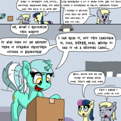 Size: 1000x1000 | Tagged: safe, artist:bjdazzle, bon bon, derpy hooves, lyra heartstrings, sweetie drops, earth pony, pegasus, pony, unicorn, comic:accidental transit guardians, atg 2018, box, chibi, coincidence, comic, cute, excited, female, happy, heart eyes, irrational exuberance, lyrabetes, mail, mare, nervous, newbie artist training grounds, package, researcher, shaking, smiling, tail wag, teamwork, wingding eyes