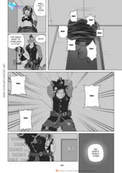Size: 1200x1697 | Tagged: abs, anthro, armpits, artist:pia-sama, bullet, comic, comic:rogue diamond, dragon, female, mare, monochrome, older, older spike, rainbow dash, safe, shooting, speech bubble, spike, spinning, tank