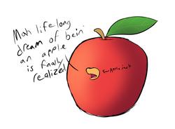 Size: 2099x1549 | Tagged: safe, artist:neonhuo, applejack, apple, applejack becoming an apple, atg 2018, food, newbie artist training grounds, solo, wat
