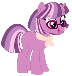 Size: 360x376 | Tagged: safe, artist:amberclarity, oc, oc:lilac radiance, pony, female, glasses, magical lesbian spawn, mare, offspring, parent:cheerilee, parent:twilight sparkle, parents:cheerilight, simple background, solo, transparent background