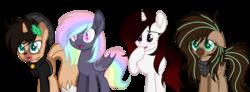 Size: 1024x378 | Tagged: safe, artist:mintoria, oc, oc only, oc:amelia, oc:finn, oc:mint, oc:taya, bat pony, deer pony, original species, pegasus, pony, unicorn, base used, female, mare, simple background, transparent background