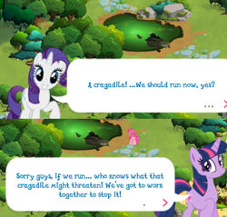 Size: 620x592 | Tagged: cragadile, crocodile, dialogue, everfree forest, gameloft, pinkie pie, rarity, safe, twilight sparkle