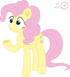 Size: 1824x2000 | Tagged: safe, artist:onil innarin, fluttershy, pinkie pie, pegasus, pony, the mean 6, alternate hairstyle, female, hairstyle swap, mane swap, mare, movie accurate, pinkie pie hair, signature, simple background, transparent background, underhoof, vector, voice actor joke