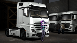 Size: 3840x2160 | Tagged: 3d, artist:aryatheeditor, beanie, boots, clothes, equestria girls, hat, human, mercedes-benz, mercedes-benz actros, pants, safe, shoes, source filmmaker, spoiler:eqg specials, starlight glimmer, torn clothes, truck, vest