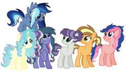 Size: 2496x1448 | Tagged: artist:thesmall-artist, base used, earth pony, female, magical lesbian spawn, mare, oc, oc:apple donut, oc:aqua smooth, oc:candy star, oc:diamond sticks, oc:flower shield, oc:neon light, oc only, offspring, parent:applejack, parent:donut joe, parent:flash sentry, parent:fluttershy, parent:mud briar, parent:pinkie pie, parent:princess luna, parent:rainbow dash, parent:rarity, parents:applejoe, parents:flutterarmor, parent:shining armor, parent:sky stinger, parents:lunadash, parents:pinkiesentry, parents:raribriar, parents:twisky, parent:twilight sparkle, pegasus, pony, safe, simple background, transparent background, unicorn