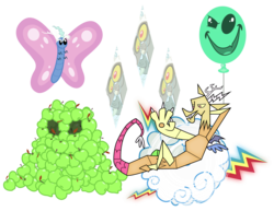 Size: 3300x2550 | Tagged: apple, artist:tourniquetmuffin, balloon, butterfly, cloud, discord, disguise, draconequus, elements of disharmony, food, keepers of the grove of truth, lying on a cloud, on a cloud, safe, simple background, stained glass, the return of harmony, transparent background, vector