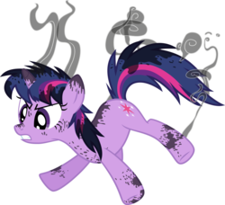 Size: 1024x934 | Tagged: safe, artist:tourniquetmuffin, twilight sparkle, pony, unicorn, feeling pinkie keen, female, mare, messy mane, scorched, simple background, smoke, transparent background, unicorn twilight, vector