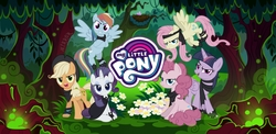 Size: 2220x1080 | Tagged: safe, mean applejack, mean fluttershy, mean pinkie pie, mean rainbow dash, mean rarity, mean twilight sparkle, alicorn, bird, earth pony, pegasus, pony, unicorn, the mean 6, antagonist, clone, clone six, evil rainbow dash, forest, game, gameloft, gift code, loading screen, logo, mean six, my little pony logo, nest, wallpaper
