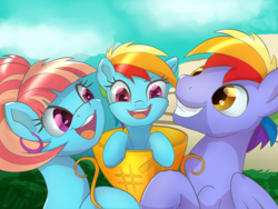 Size: 1200x900 | Tagged: safe, artist:klemm, bow hothoof, rainbow dash, windy whistles, pegasus, pony, cute, daaaaaaaaaaaw, dashabetes, female, filly, filly rainbow dash, happy, male, mare, open mouth, smiling, stallion, trophy, younger