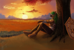 Size: 1024x683 | Tagged: safe, artist:zefirayn, oc, oc only, oc:jaeger sylva, anthro, unguligrade anthro, anthro oc, armor, chestplate, clothes, commission, digital art, grass, leggings, male, savanna, shield, signature, sitting, solo, spear, stallion, sunset, tree, vexel, weapon