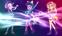 Size: 1360x800 | Tagged: safe, artist:keronianniroro, artist:lifes-remedy, artist:mandash1996, artist:masem, edit, starlight glimmer, sunset shimmer, twilight sparkle, equestria girls, equestria girls (movie), equestria girls series, mirror magic, spoiler:eqg specials, .svg available, beanie, beautiful, boots, breasts, canterlot high, cleavage, clothes, cute, cutie mark, eyes closed, fake tail, female, geode of empathy, hair flip, hat, helping twilight win the crown, high heel boots, high heels, jacket, leather jacket, leg warmers, legs, long hair, looking at you, magical trio, open mouth, pants, peace sign, pony ears, school spirit, shimmerbetes, shirt, shoes, skirt, smiling, trio, vector, vest, wall of tags, wallpaper, wallpaper edit, wondercolts