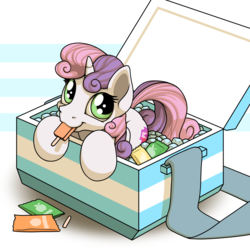 Size: 2000x2000 | Tagged: safe, artist:ohemo, sweetie belle, pony, unicorn, atg 2018, cooler, cute, cutie mark, diasweetes, female, filly, food, ice cream, looking at you, popsicle, smiling, solo, the cmc's cutie marks
