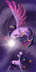 Size: 880x1741 | Tagged: safe, artist:patsuko, twilight sparkle, alicorn, pony, unicorn, cutie mark, duality, elements of harmony, female, flying, glowing horn, jewelry, looking at each other, magic, mare, rainbow power, raised hoof, regalia, twilight sparkle (alicorn)