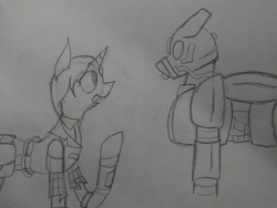 Size: 2560x1920   Tagged: safe, artist:derpanater, oc, oc only, oc:cloud dancer, oc:daisy ropes, pegasus, pony, unicorn, fallout equestria, armor, clothes, enclave, enclave armor, grand pegasus enclave, pipbuck, power armor, traditional art