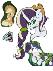 Size: 389x519 | Tagged: artist:foxytthepiratefoxgir, clone, cropped, earth pony, edit, edited screencap, eyeshadow, female, grin, hat, icey-verse, lesbian, magical lesbian spawn, makeup, mare, mean applejack, mean rarijack, mean rarity, messy mane, oc, oc:rotten core, offspring, open mouth, parent:applejack, parent:evil applejack, parent:mean applejack, parent:mean rarity, parents:mean rarijack, pony, safe, screencap, shipping, simple background, smiling, the mean 6, transparent background, unicorn, vine