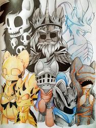 Size: 2996x3987 | Tagged: safe, artist:blazemizu, pony, armor, artorias, artorias the abysswalker, chosen undead, cloak, clothes, dark souls, dragon slayer ornstein, executioner smough, gravelord nito, gwyn, ornstein, ponified, seath the scaleless, smough, traditional art, witch of izalith