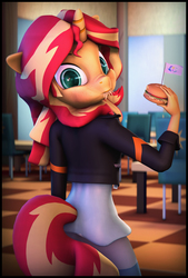 Size: 5400x7980   Tagged: safe, artist:discorded, artist:imafutureguitarhero, sunset shimmer, unicorn, anthro, plantigrade anthro, equestria girls, 3d, absurd resolution, adaptation, blushing, border, burger, cafeteria, canterlot high, chair, chromatic aberration, clothes, cute, dress, eating, female, flag, floppy ears, food, freckles, hay, hay burger, horn, jacket, leather jacket, looking at you, looking back, mare, multicolored hair, nose wrinkle, peppered bacon, recursive fanart, restaurant, shimmerbetes, signature, solo, source filmmaker, sunset wants her old digestive system back, tail, vertical