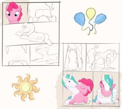 Size: 4252x3783   Tagged: safe, artist:the-brightest-sunny-days, pinkie pie, princess celestia, alicorn, earth pony, pony, book, cuddling, eyes closed, female, hug, lesbian, lying down, mare, partial color, pinkielestia, shipping, winghug