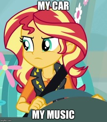 Size: 500x570 | Tagged: safe, sunset shimmer, driving miss shimmer, equestria girls, equestria girls series, annoyed, cropped, driving miss shimmer: fluttershy, female, flower, fluttershy's car, image macro, imgflip, meme, seatbelt, solo, steering wheel