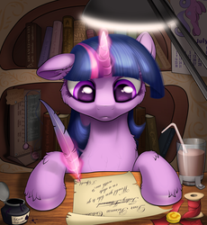 Size: 2070x2250 | Tagged: artist:awalex, book, bookshelf, chocolate, chocolate milk, dear princess celestia, drink, female, glowing horn, golden oaks library, implied lesbian, implied shipping, implied twilestia, inkwell, lamp, magic, mare, milk, quill, safe, scroll, solo, straw, telekinesis, twilight sparkle, unicorn