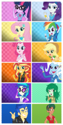 Size: 3104x6096   Tagged: safe, applejack, dj pon-3, flash sentry, fluttershy, pinkie pie, rainbow dash, rarity, sci-twi, sunset shimmer, timber spruce, trixie, twilight sparkle, vinyl scratch, wallflower blush, equestria girls, equestria girls series, choose your own adventure, clothes, female, geode of empathy, geode of fauna, geode of shielding, geode of sugar bombs, geode of super speed, geode of super strength, geode of telekinesis, glasses, humane five, humane seven, humane six, magical geodes, male, ponytail, sunglasses