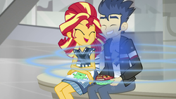 Size: 1920x1080 | Tagged: safe, screencap, flash sentry, sunset shimmer, eqg summertime shorts, equestria girls, good vibes, cute, diasentres, happy, one eye closed, shipping fuel, smiling, song