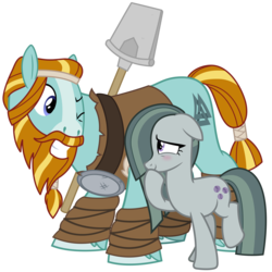 Size: 3200x3200 | Tagged: a happy ending for marble pie, artist:cheezedoodle96, balancing, blushing, crack shipping, duo, earth pony, eye contact, female, flirting, hoof over mouth, looking at each other, male, marblehoof, marble pie, mare, one eye closed, pony, rockhoof, rockhoof's shovel, safe, shipping, shovel, simple background, smiling, stallion, straight, svg, .svg available, transparent background, vector, wink