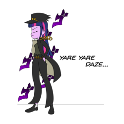 Size: 3000x3000 | Tagged: artist:silver dash, atg 2018, belt, chains, clothes, crossover, equestria girls, eyes closed, hat, jacket, jojo's bizarre adventure, jotaro kujo, kanji, menacing, newbie artist training grounds, pants, safe, school uniform, shirt, shoes, simple background, socks, standing, text, twilight sparkle, white background