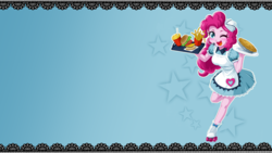 Size: 1920x1080   Tagged: safe, artist:uotapo, edit, pinkie pie, coinky-dink world, eqg summertime shorts, equestria girls, equestria girls series, pinkie pie: snack psychic, abstract background, apron, blushing, burger, carhop, clothes, cute, diapinkes, doll, dress, drink, equestria girls minis, female, food, french fries, hat, headset, one eye closed, open mouth, pie, roller skates, server pinkie pie, skirt, solo, toy, waitress, wallpaper, wallpaper edit, wink