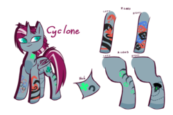 Size: 1500x1000 | Tagged: safe, artist:queenofvipers, oc, oc only, oc:cyclone (ice1517), alicorn, bat pony, bat pony alicorn, pony, icey-verse, alicorn oc, female, magical lesbian spawn, mare, next generation, offspring, parent:oc:elizabat stormfeather, parent:tempest shadow, parents:canon x oc, parents:stormshadow, simple background, solo, tattoo, transparent background