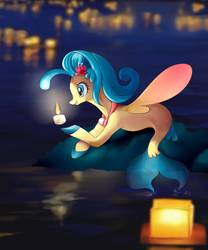Size: 1243x1491 | Tagged: safe, artist:t0zona, princess skystar, seapony (g4), my little pony: the movie, candle, female, river, solo