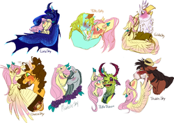 Size: 2890x2050 | Tagged: safe, artist:eqq_scremble, derpibooru exclusive, cheese sandwich, fluttershy, gilda, marble pie, princess luna, thorax, trouble shoes, whoa nelly, alicorn, changedling, changeling, earth pony, griffon, pegasus, pony, unicorn, accordion, alternate design, bandaid, bisexual, blushing, crack shipping, ear piercing, earring, female, flower, flutternelly, fluttersandwich, fluttershy gets all the mares, fluttershy gets all the stallions, gildashy, hat, interspecies, jewelry, king thorax, lesbian, lunashy, male, marbleshy, musical instrument, piercing, ponytail, shipping, straight, thoraxshy, troubleshy, wings