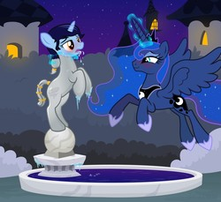 Size: 1280x1175 | Tagged: safe, artist:icaron, princess luna, oc, oc:aerospace melody, alicorn, pony, unicorn, blushing, bush, canterlot gardens, clopfic in the comments, commission, dispelling, drool, duo, duo female, explicit source, female, flying, fountain, garden, glowing horn, hedge, icicle, inanimate tf, magic, mare, metal, night, objectification, petrification, plinth, ponytail, punishment, release, show accurate, smiling, statue, steel, story in the source, tail wrap, tower, transformation, winter, ych result