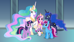 Size: 11200x6400 | Tagged: safe, artist:parclytaxel, princess cadance, princess celestia, princess flurry heart, princess luna, twilight sparkle, oc, oc:parcly taxel, alicorn, pony, .svg available, :o, absurd resolution, alicorn hexarchy, alicorn oc, alicorn pentarchy, canterlot castle, female, foal, group shot, horn ring, looking at you, mare, open mouth, raised hoof, raised leg, smiling, twilight sparkle (alicorn), vector