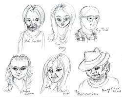 Size: 2000x1598 | Tagged: safe, artist:nightweaver20xx, human, andrea libman, brony, bust, fedora, hat, jim miller, lauren faust, m.a. larson, portrait, sketch, tara strong, voice actor