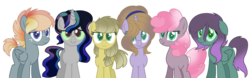 Size: 1024x318 | Tagged: safe, artist:leanne264, oc, oc only, oc:anastasia, oc:crystal blue, oc:fiery storms, oc:laurel quartz, oc:royal gem, oc:sandstone apple pie, earth pony, pegasus, pony, unicorn, base used, colored sclera, female, floppy ears, interspecies offspring, magical lesbian spawn, mare, next generation, offspring, parent:applejack, parent:cheerilee, parent:dumbbell, parent:fluttershy, parent:king sombra, parent:maud pie, parent:pinkie pie, parent:prince blueblood, parent:queen chrysalis, parent:rainbow dash, parent:rarity, parent:twilight sparkle, parents:cheeripie, parents:chrysashy, parents:dumbdash, parents:maudjack, parents:rariblood, parents:twibra, simple background, transparent background