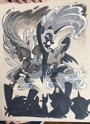 Size: 1481x2048   Tagged: safe, artist:andypriceart, applejack, nightmare moon, queen chrysalis, spike, twilight sparkle, alicorn, changeling, changeling queen, dragon, pony, antagonist, armpits, duo, electric guitar, ethereal mane, eyes closed, female, guitar, heavy metal, helmet, mare, marker drawing, metal as fuck, musical instrument, silhouette, traditional art